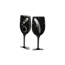 Wine set 3 pieces in glass shape